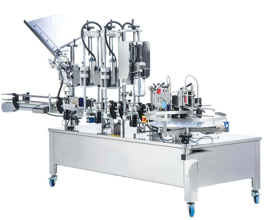 vollautomatische Etikettiermaschine Kapselaufsetzer Kapselschrumpfer